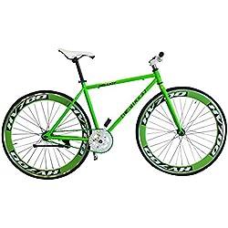 Helliot Bikes Brooklyn 38 Bicicleta Fixie Urbana, Adultos Unisex, Verde, M-L