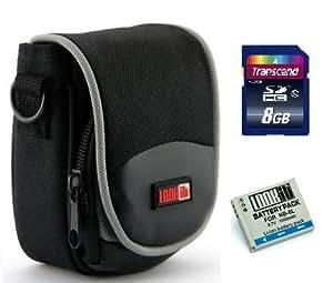 LOOkit Empaqueter: LOOKit® Sac GW-7 + LOOKit® Batterie NB-6L + Carte Mémoire SDHC Classe 10 8 Go -- pour Canon PowerShot SX600 HS,Canon PowerShot S200, Canon PowerShot SX700, Canon PowerShot D30, Canon PowerShot SX280 HS, Canon PowerShot SX270 HS, Canon PowerShot S120, Canon Ixus 300, Canon Ixus 310
