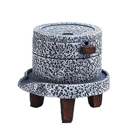 Zlw-shop Creative Cement Retro Aschenbecher mit Deckel Winddichter Steinschleifaschenbecher im chinesischen Stil - Retro 4 Cement
