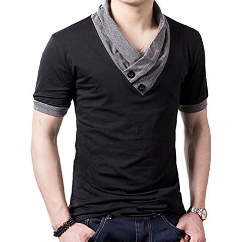 Fortan Verano de los hombres botón casual V Cuello muscular tapas delgadas tee camiseta
