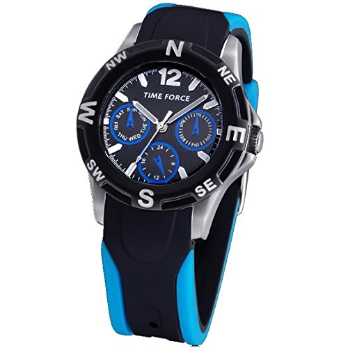 TIME FORCE Reloj De Pulsera Tf-3199B03 Cadete Acero Multifuncion 50M AZUL