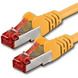 7,5m - amarillo - 1 pieza - CAT6 Ethernet LAN cable de red   10/100/1000 / Mbit / s   Patchkabel   CAT6   S-FTP   Doble blindado   PIMF   250MHz   halógenos   compatible con CAT 5 / CAT 6a / CAT 7   para switch, router, módem, Patchpannel, punto de acceso, Patch Panels