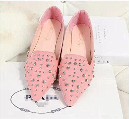 LDMB Die beiläufigen bereiften Rhinestonesschuhe der Frauen zeigten flache Ferse der einzelnen Schuhe Pink