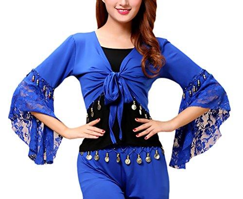 Emmay Bolero Damen Bauchtanz Kostüm Wesentlich Spitze Trompetenärmel Lateintanz Spleiß Mit Münz Top Umhang Oberteil Belly Dance Costumes Tanzkostüme (Color : Navy Blue, Size : 2XL)