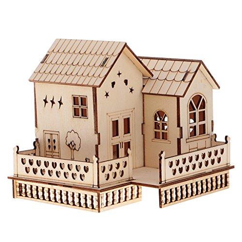 Homyl Mini 3D Villa Haus Modell Bausatz aus Holz mit LED Lichter, pädagogisches Spielzeug für Kinder ab 3 Jahren - # 2, 14.9x14x13.7cm
