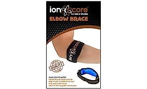 Ionocore® - Tutore per gomito, per cura del gomito del tennista e strappi,leggero e regolabile con cuscinetto di compressione in EVA, taglia unica (1)