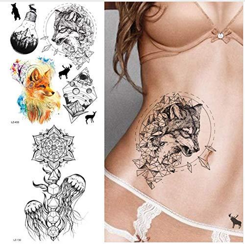 ruofengpuzi Schwarze Skizze Wolf Diamond Star Trek Tattoo Aufkleber realistische weibliche Taille Tattoo temporäre Körper Arm Art Tattoo Blatt (Trek Kostüme Weibliche Star)