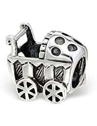 Cochecito de bebé plata de ley por Kate Benson – para pulseras estilo Pandora