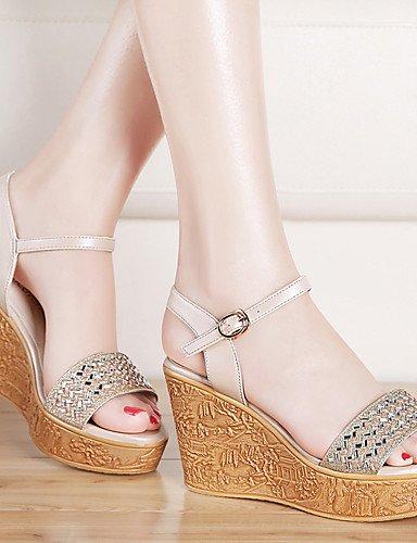 LFNLYX Chaussures Femme-Bureau & Travail / Habillé / Décontracté / Soirée & Evénement-Argent / Or-Plateforme-Bout Ouvert / Creepers-Sandales- Silver