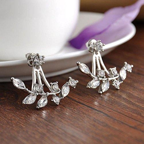 Ohrstecker Damen,DOLDOA Ohrring Ohrstecker Earring Blumen Blätter Kristall (Silber - 2)