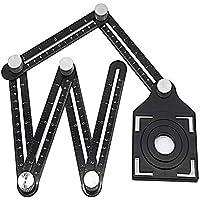 Angleizer regla de plantilla, multiángulo, guía de taladro de aleación de aluminio, herramienta de perforación de agujero ajustable, herramienta de perforación de agujero ajustable, negro