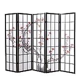 Homestyle4u 151 Paravent 5 teilig Raumteiler 5 fach Holz Schwarz Shoji Reispapier weiß mit Kirschblüten Trennwand Spanische Wand Sichtschutz zusammenklappbar