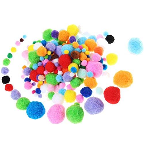 Pom Poms, Borte 200Stück Craft Pom, verschiedene Farben flauschig Pompons, zum Basteln und Hobby Supplies