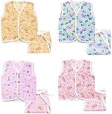 FARETO New Born Baby gift pack Jhabla with Diaper (multicolor pack of 8)