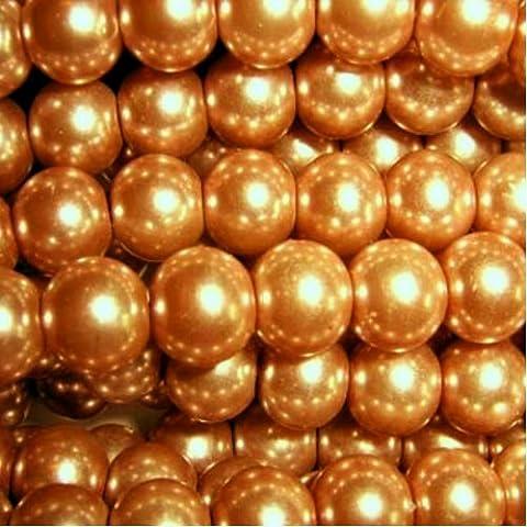 K2-Accessories a0978-6mm Glas Perlen–Golden Brown–a0968-a