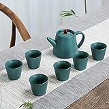 Coppe & Saucer Servizio Viola Sand Tea Set ceramica nera Kung Fu cinese teiera a mano Teaware Imposta Cerimonia Teiera Teacup Gaiwan Tè con scatola regalo,3