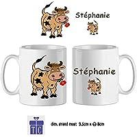 Texti-cadeaux-Mug Vache-personnalisé avec un prénom exemple Stephanie