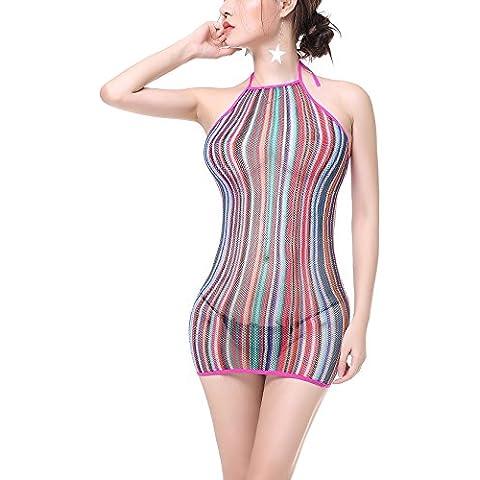 Cctiwee Las mujeres la ropa interior atractiva del arco iris Mallas mini vestido de la novedad del estiramiento Chemise