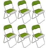Verde / blanco acolchado, plegable, silla de escritorio - Pack de 6