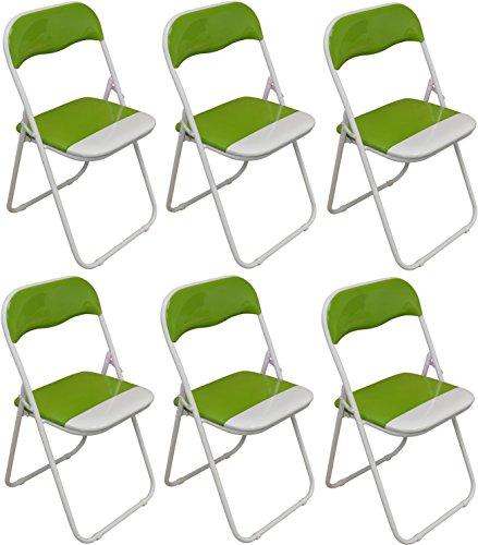 Packung mit 6 x Grün und Weiß Padded Klappstuhl - groß für, Büro, Schreibtisch, Poker, Ersatz-/ Zusatzsitz