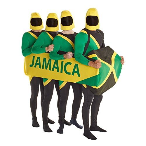 B-Creative Jamaican Bobsled Team Fancy Dress Kostüm 90er Jahre Bobbahn Morphsuit Schlitten optional (Bobbahn Morphsuit/XL)