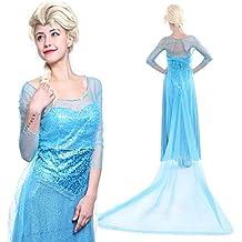 Maboobie - Disfraz Frozen Elsa Reina del Hielo Vestido de Lujo Halloween para Mujer Adulto (L)