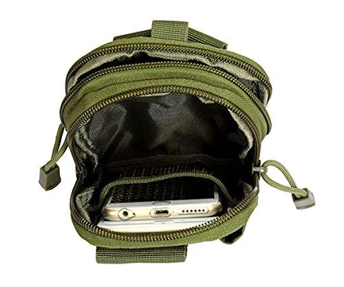 Ueasy Compatto multiuso Borsa marsupio tattico Molle EDC campeggio trekking Pouch Purse Cell Phone Case Utility Gadget Pouch Strumenti tattico Pouch, CP Verde militare