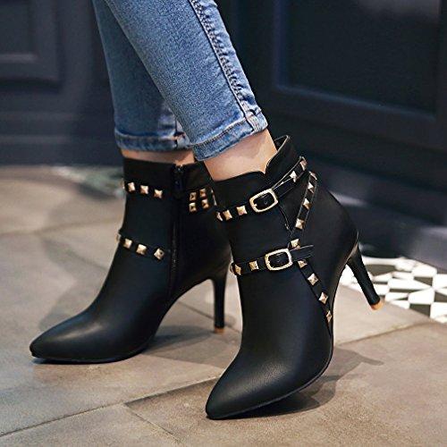 E Fibbie Uh Rivetti Sexy Elegante Fine Tacchi Con Con Punta I Boots Confortevole Nero Donna Scarpe Hrw0xzSrq8
