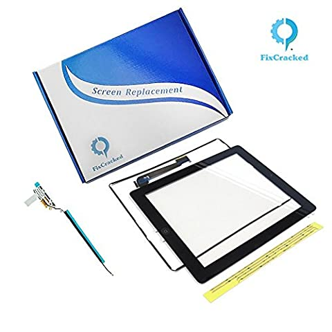 iPad 3 Screen replacement,iPad 3 Front Touch Digitizer Assembly Replacement include Home Button +Camera Holder + Adhesive pre-installed+Middle Frame Bezel+WIFI Antenna Cable