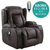 More4Homes (tm) CAESAR ELECTRIC AUTO RECLINER MASSAGE HEATED GAMING WING LOUNGE BONDED LEATHER CHAIR (Brown)