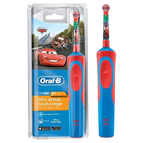 Oral-B Stages Power Kids Electric Rechargeable Toothbrush Featuring Disney Pixar Cars Characters, 1 Handle, 1 Brush Head, UK 2Pin Plug, Ages 3+, for Brushing Away Christmas Treats (Packaging May Vary)