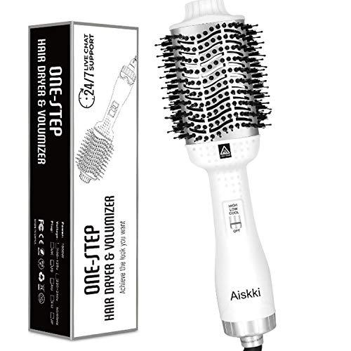 Aiskki Multifunktionaler Haartrockner,5 In 1 Hair Dryer & Volumizer Styler mit Negativer Lonic Föhnen Stylingbürsten für alle Styling