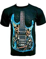 Rock Chang T-Shirt * Hell Guitar * Glow In The Dark * Noir GR521