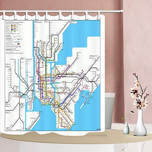 SRJ2018 3D Digitaldruck Karte Dekor New York City U-Bahn Duschvorhang Mehltau Resistant Dekorationen 180X180 cm -