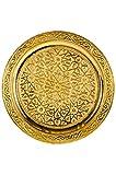 Orientalisches rundes Tablett aus Messing Mehdia 30cm Deko Gold   Marokkanisches Teetablett in der Farbe Golden   Orient Goldtablett goldfarbig   Orientalische Dekoration auf dem gedeckten Tisch