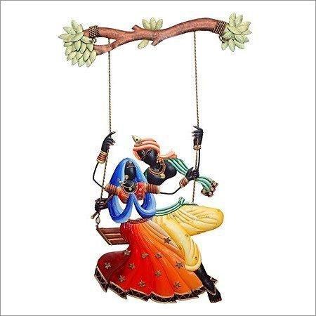 Karigaari Sanskritikk Radha Krishna Swing Iron Wall Hanging (47.4 cm x 34.59 cm x 4.6 cm)