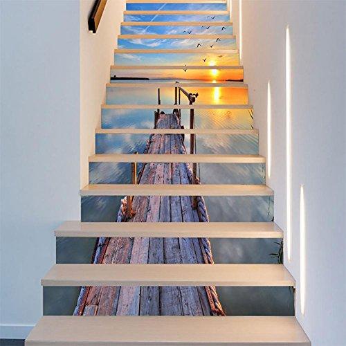 "LIU-LT014 3D DIY Selbstklebend Wasserdicht Sonnenuntergang See Wasser Holzbrücke Muster Treppenaufkleber 39.4x7.1 ""* 13PCS"