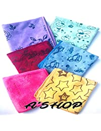 A'SHOP Colorful Amazing High Quality Thick Soft Attractive Different design Printed Hankies for Girls, Kids, Women(Pack of 6)