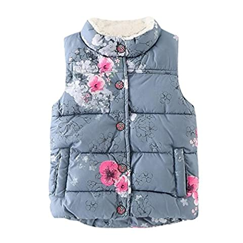 Girls Gilet, SHOBDW Kid Infant Floral Jackets Baby Warm Winter Waistcoat Clothes Toddler Coat (1-2 Years,