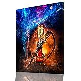 DotComCanvas Shisha Galaxy - Shishabar Wandbild Wanddekoration - Shisha-Bar Wand-Deko Wandbild - Leinwandbild für Shisha-Lounge - Shisha Dekoration