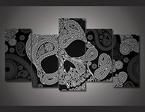 Calavera lienzo pared arte abstracto blanco y negro arte...