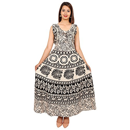 Jaipuri Fashionista Designer Cotton Women's Maxi Long Dress Jaipuri Printed with Atteched...