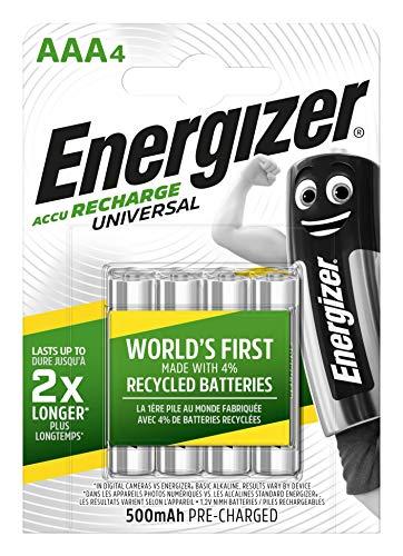 Oferta de Energizer - Pilas Recargables Accu Recharge Universal 500 mAh HR03 AAA, 4 Pilas, Plata