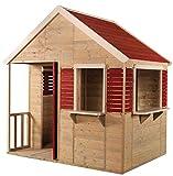 Wendi Toys Kinder Holzhäuser Sommer Villa für draußen | Gartenhaus Haus Öffnen Typ L Größe Spielhaus mit Volle Tür, Fenster, Vorhänge, Veranda, Spielzeug Regal, Fensterläden
