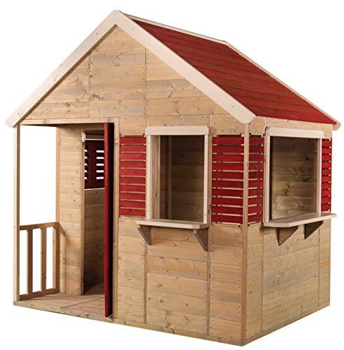 Wendi Toys Kinder Holzhäuser Sommer Villa für draußen | Gartenhaus Haus Öffnen Typ L Größe...