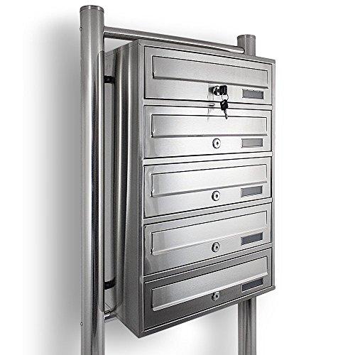 Edelstahl Stand-Briefkastenanlage Postkasten Letterbox Mailbox mit 5 Fächer