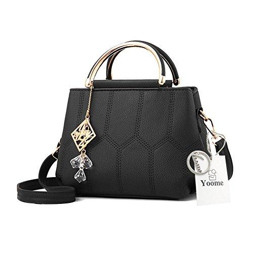 Sacchetti alla moda Yoome per ragazze in scuola superiore Borse eleganti per la borsa della maniglia per le donne Borse per signore - Grigio Nero