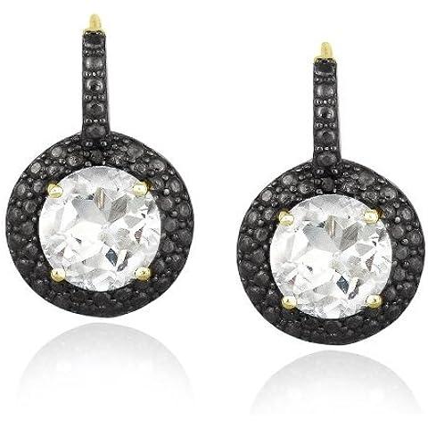 Oro tono in argento Sterling 5ct Topazio Bianco E Nero Diamante Leverback Orecchini 19 - 5 Ct Orecchini Di Diamanti