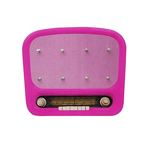 """(pink) Vintage Schlüsselbrett """"Radio"""" aus Glas im Retro Design mit 8 Haken. Schlüssel, Schlüsselanhänger, Schlüsselkasten …"""