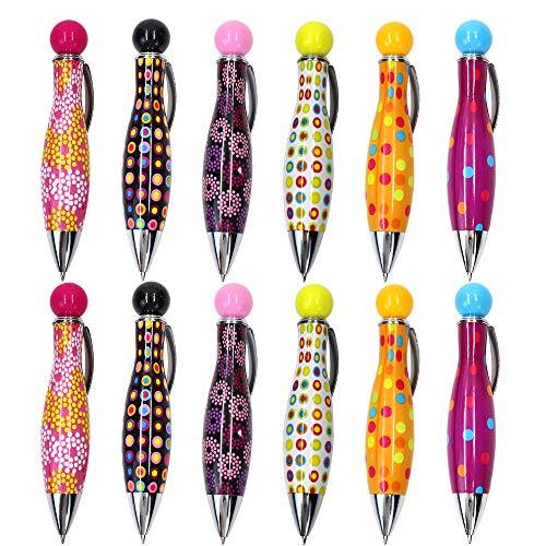 Cute Retractable Bowling Stil Mini Kugelschreiber, 0,7mm, blau Tinte, bunt, Pen Shell, 12Stück